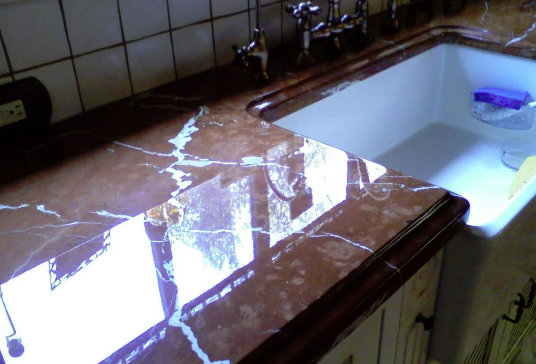 Fused Glossy Finish of the Reddish Marble