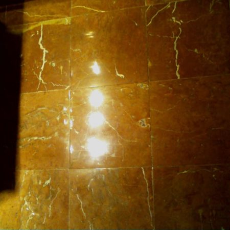 Brownish Polished Tiles on Bathroom Floor