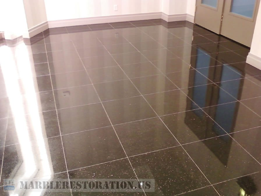 Pure Black Galaxy Granite. Wax Stripping Service