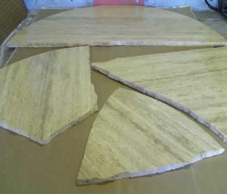 Chopped Round Travertine Table Restoration