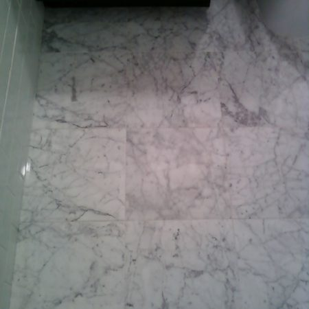 Honed White Carrara Bathroom Floor