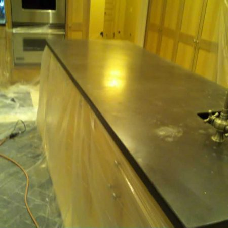Concrete Island before Sanding and Polishing