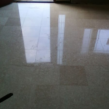 Tiled Foyer Floor after Cleaning and Polishing