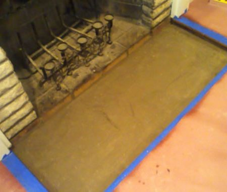 "Fireplace Floor Slab Installation. Sand ""Pillow"""