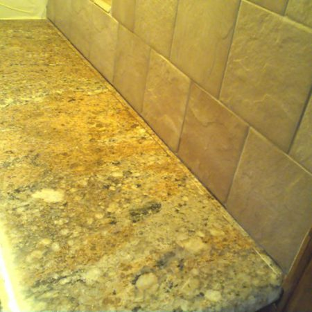 Granite Counter Seam by Wall Reparation