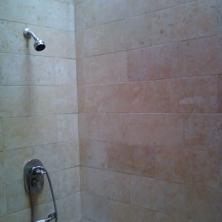 Jerusalem Stone on Shower Walls. Before Sealing