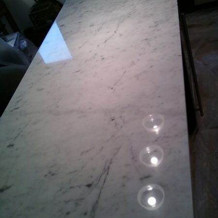 Revived Carrara Kitchen Countertop<br>Shine Restoration