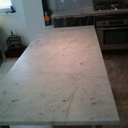 Dull Carrara Kitchen Countertop before Refinishing