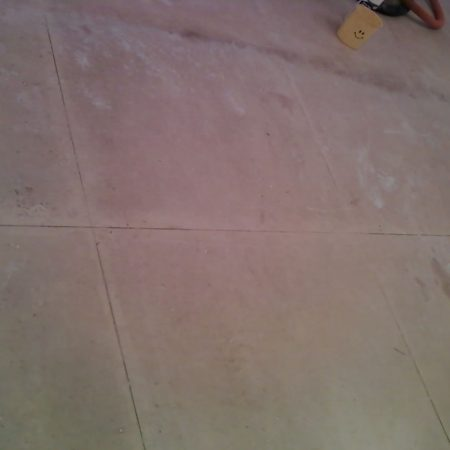 Grime Limestone Slabs & Grout. Scouring & Scrubbing