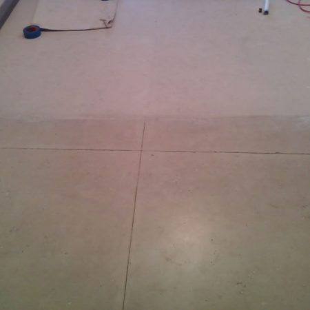 Shabby Limestone Floor Scouring. Difference