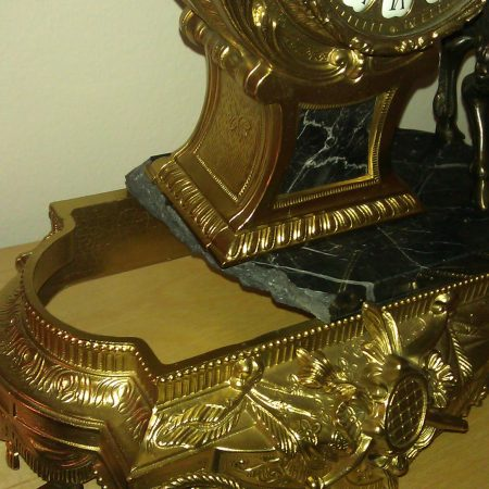Broken Marble Base on Bronze Table Clock