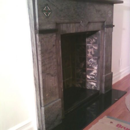 Gray Marble Fireplace after Cleaning and Grouting