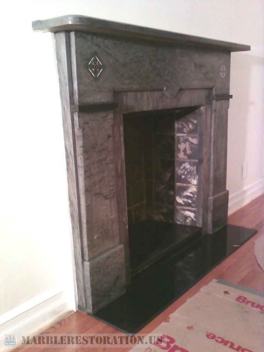 Marble Fireplace. After Cleaning and Polishing