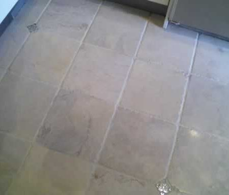 Cleaned Travertine and Grout (Almond) Kitchen Floor
