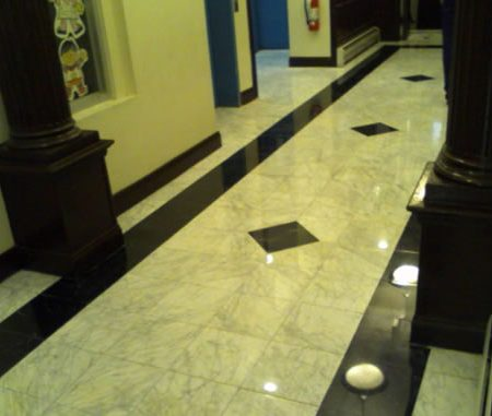 Marble Floor Restoration in Building Lobby