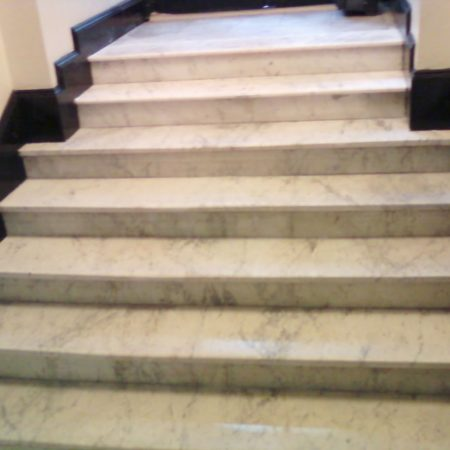 Restored Marble Staircase and Steps. White Carrara