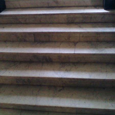 Staircase and Steps Restoration. White Carrara