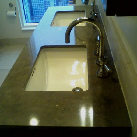 Re Polished Double Sink Limestone Vanity