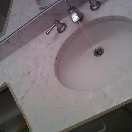 Dull Marble Vanity Before Polishing