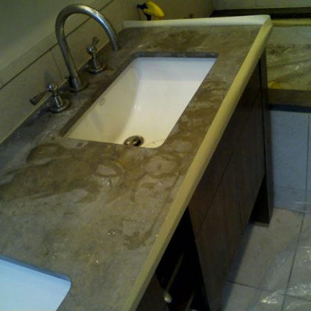 Etched/Dull Brown Limestone Vanity