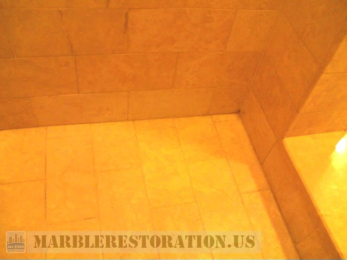 Shower Wall After Mold Roots Removal From Tiles