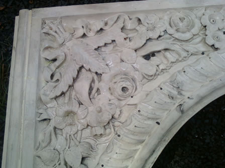 Old Paint on the Intricate Carved Flowers