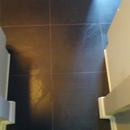 Splotchy Porcelain Tiles Remediation. Stripped Sealer Film