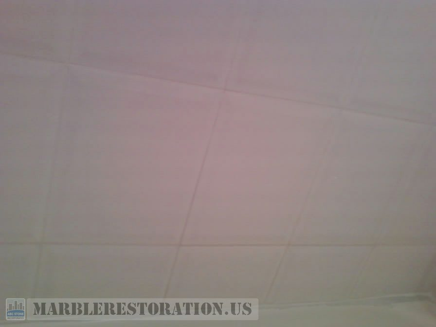 White Ceramic Tiles With New White Grout