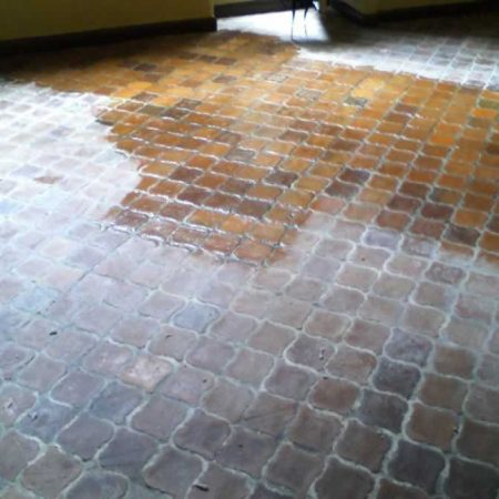 Color Enhancement on Old Terracotta Floor