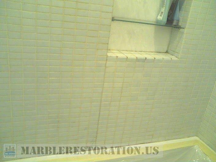 Shower Grout Repair And Patching On Mosaic Tiles Grout Refreshing - Bathroom floor tile grout repair