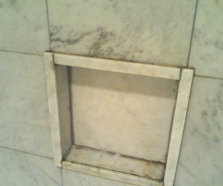 Built In Shower Niche. Before Cleaning