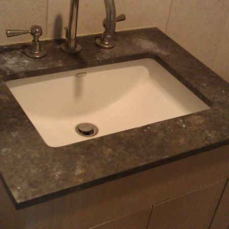 Soap Stains on Brown Limestone SinkTop