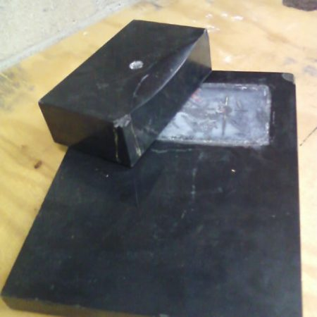 Black Block of Statue Base. Before Refurbishing