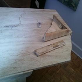 Travertine Table Broken Off Corner
