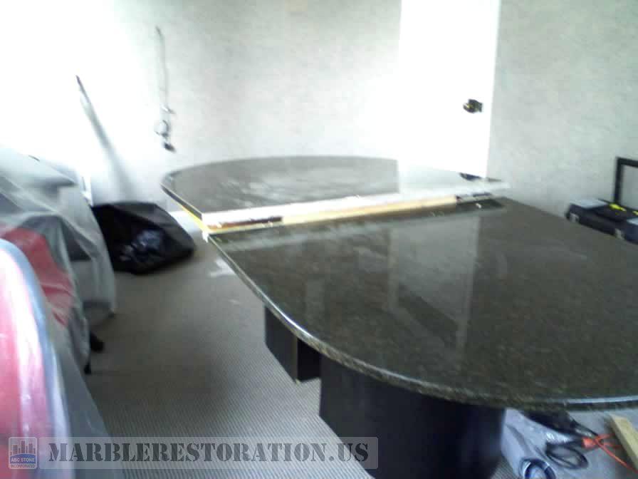 Conference Ellipse Table Seam Made From Ubatuba Granite