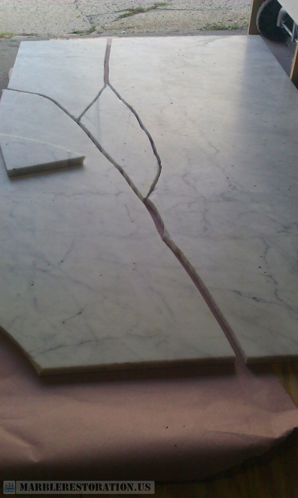 Broken Rectangular Marble Table Top