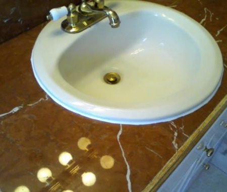 Tiled Vanity Top. Rojo Alicante Marble
