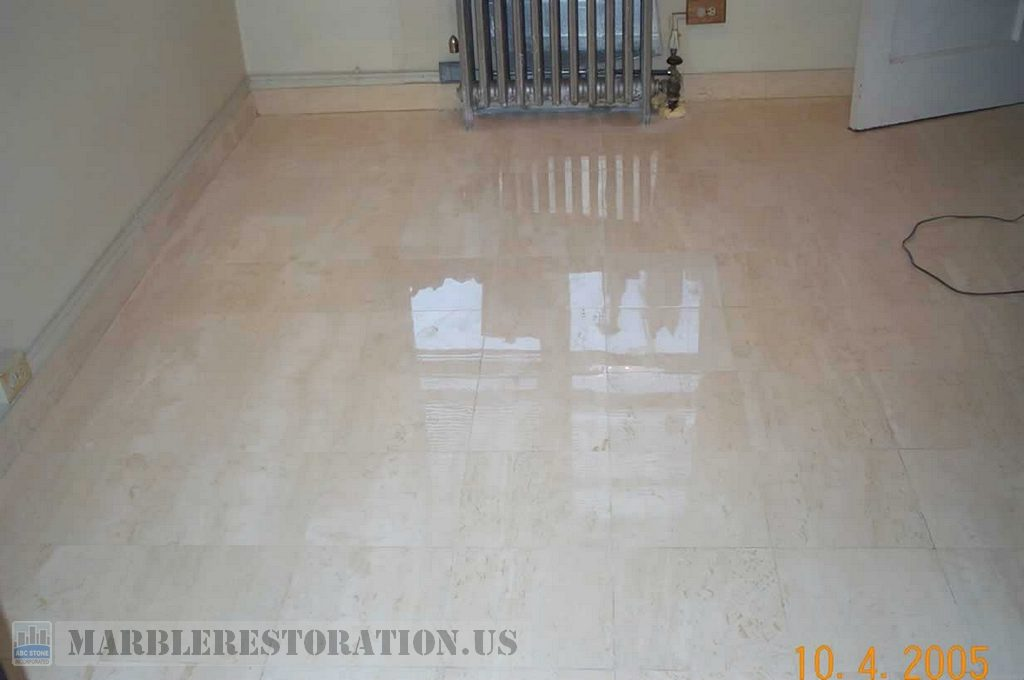 Marble Floor Restoration : Travertine floor restoration was grinded polished