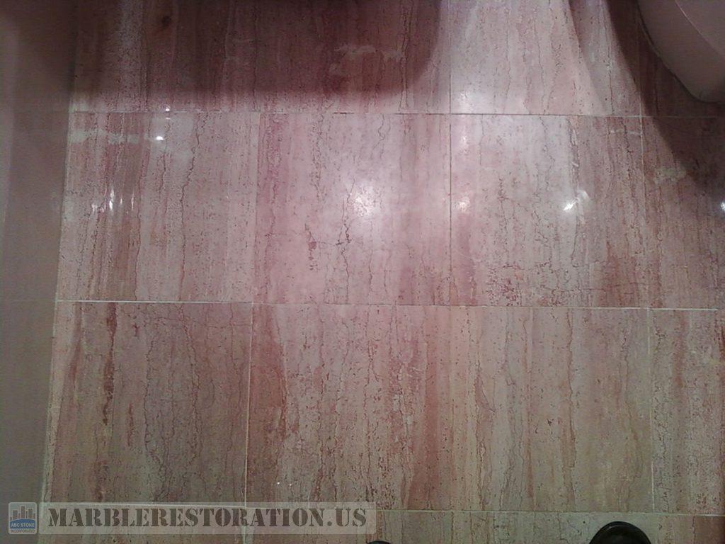 Bathroom Floor Tiles Refinishing. Beige Marble with Veins. Before ...