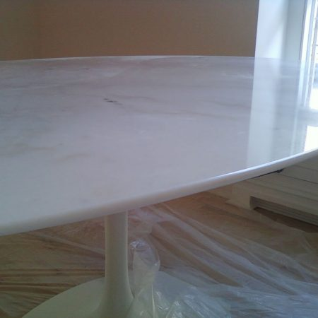 Saarinen White Thassos Oval Table. New Knife Edge