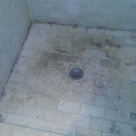 Grime on Tiles and Mildew. Shower Floor & Walls