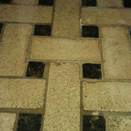 Basket Weave Floor Mosaic Tiles after Installing