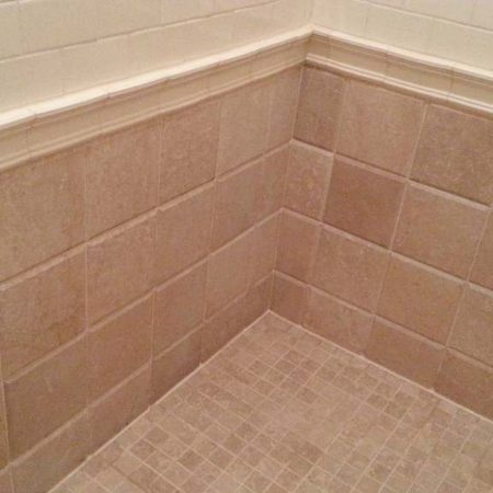 Travertine Tiles and Ceramic Liner Trim Shower Restoration