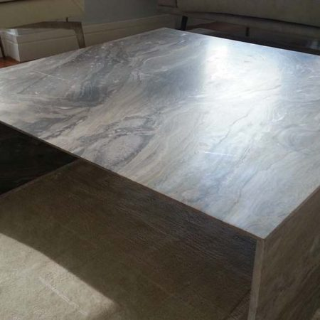 Marble Coffee Table with Waterfall Legs after Crevice Repair