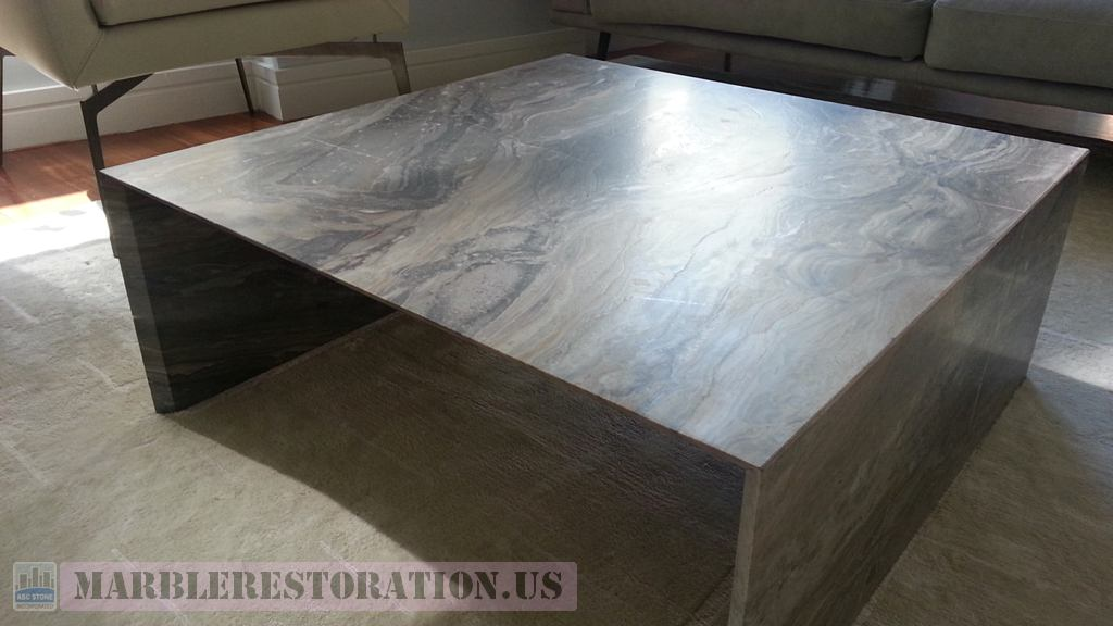 Fantastic Marble Coffee Table With Waterfall Legs After Crack Repair Interior Design Ideas Clesiryabchikinfo