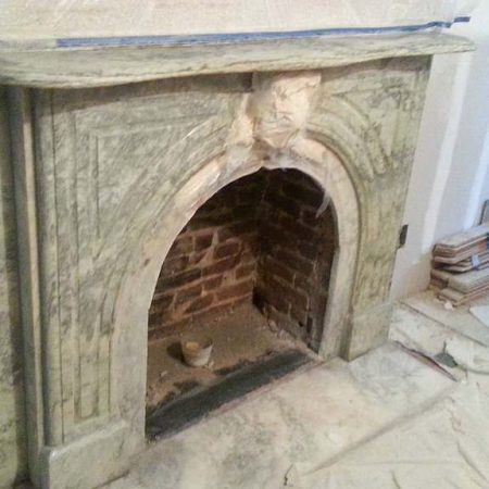 Brooklyn Restored Fireplace with Poultice On Keystone