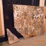 Brown White Marble Table Corner Fracture