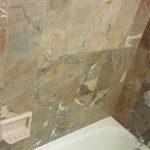 Brownish Yellow Beige Marble Walls Above Bathtub