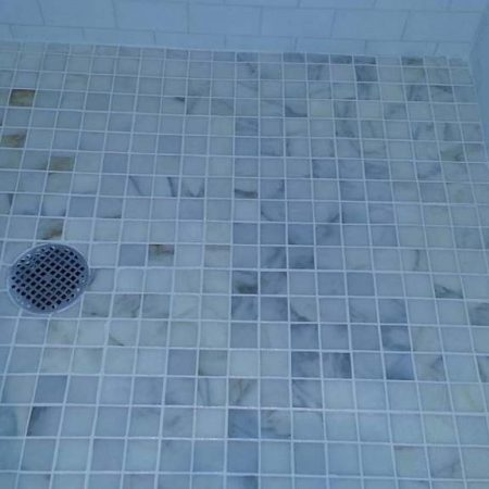 Calcium Builup Mold Removal White Mosaic Shower Floor