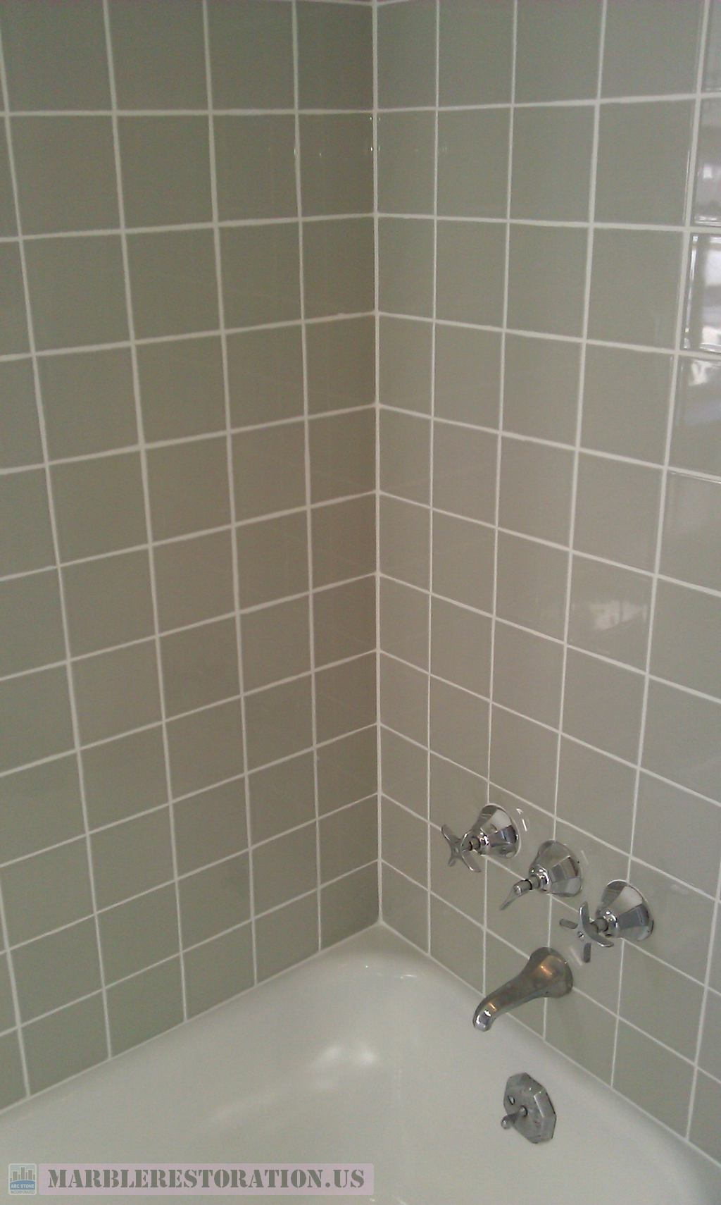 . Ceramic Tiled Walls after Re grouting   Re caulking  ABC Stone Inc